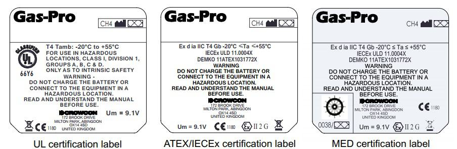 Crowcon Gas-Pro Certification Labels
