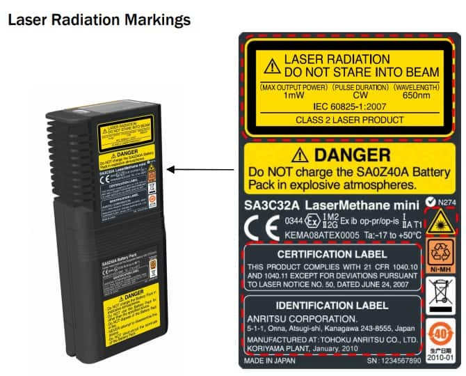 Crowcon Laser Methane Mini Gas Detector - Radiation & Certification Markings