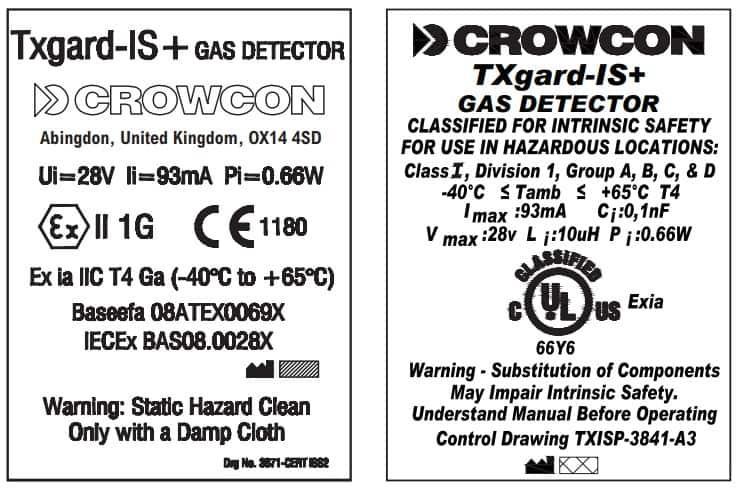 Crowcon Txgard-IS+ - Certification Rating