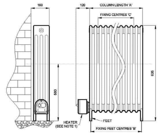 EXHEAT FLR Hazardous Area Flameproof Liquid Filled Radiators - Dimensions