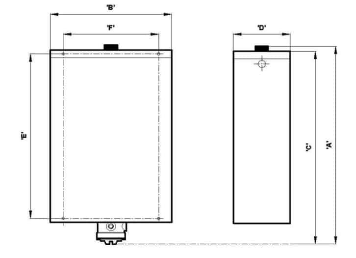 EXHEAT FP-RCH Hazardous Area Storage Water Heater - Dimensions