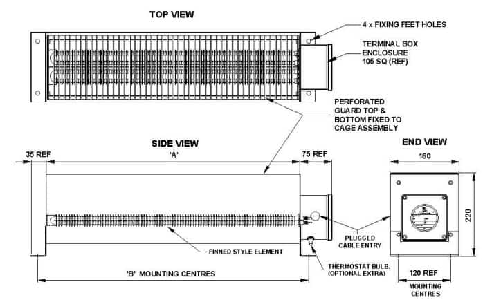 EXHEAT STW Industrial Convector Heaters - Dimensions