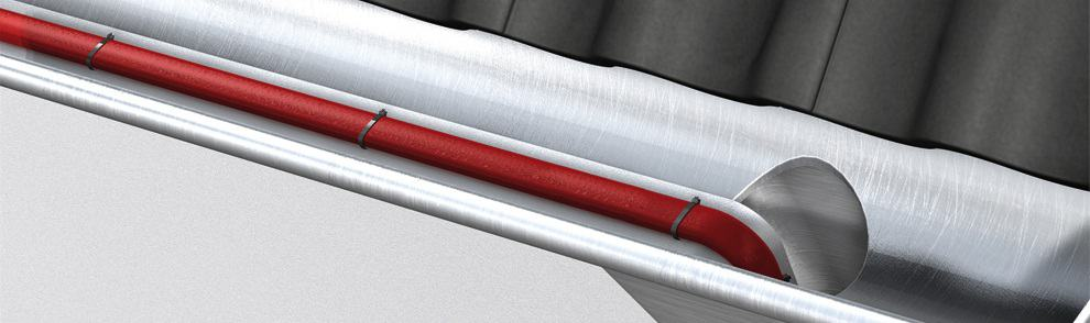 Eltherm gutter heat tracing installation prevents ice build up and blockages