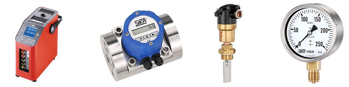 Temperature Calibrators, Flow Meters, Flow Switches, & Pressure Gauges - Sika