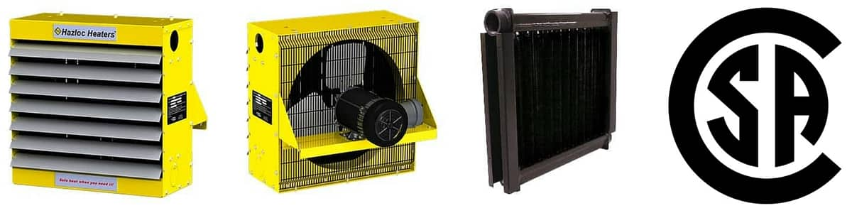 Hazloc Heaters SRH2 Hazardous Area Explosion Proof Electric Heater : front, back and core view