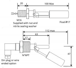 Horizontal Float Switch & Liquid Level Sensor (Stainless Steel) – Deeter 80 Series - Techincal Drawing