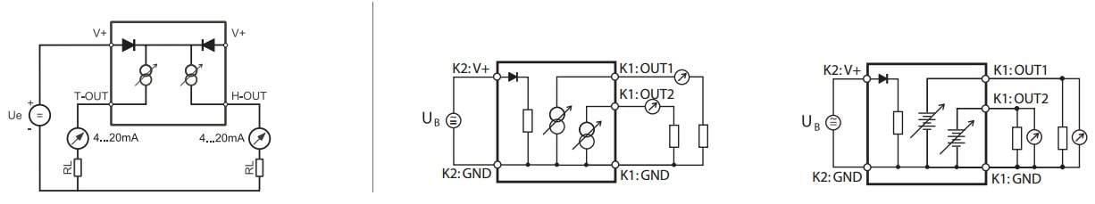 Rotronic Hygroflex HF3 HVAC Transmitter Output Options - Left to right HF32, HF33 series