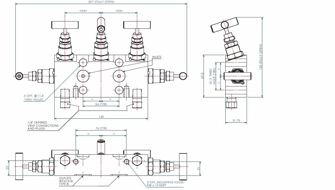 5 Valve Manifold - Stewart Buchanan X5 Valve Dimensional Drawing