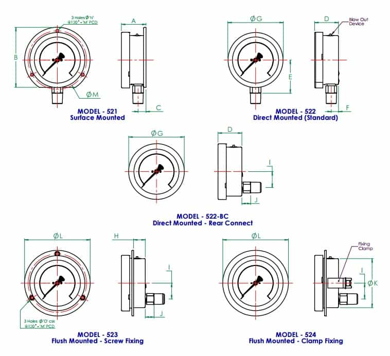 Pressure Gauge - Stainless Steel Case Brass Internals Pressure Gauge - Dimensions