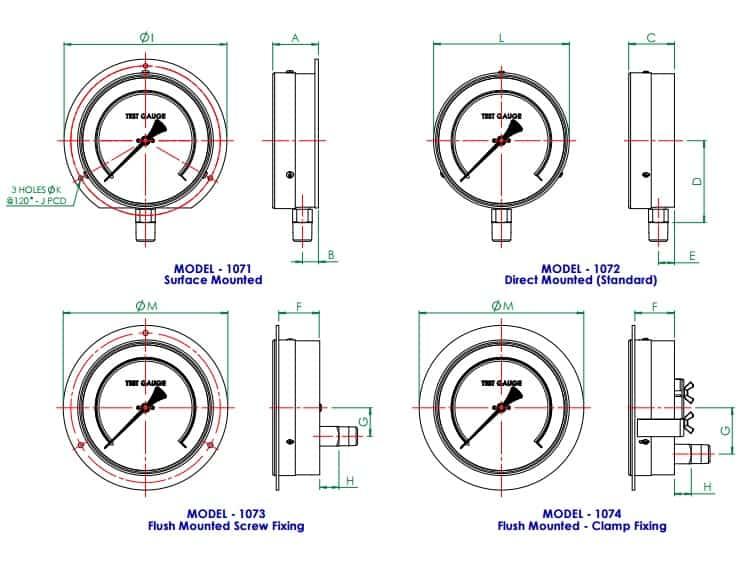 Pressure Gauge - Standard Test Gauges - Dimensions