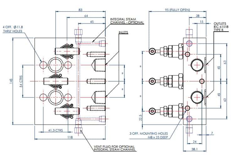 Stewarts EM3 Valves - Product Dimensions