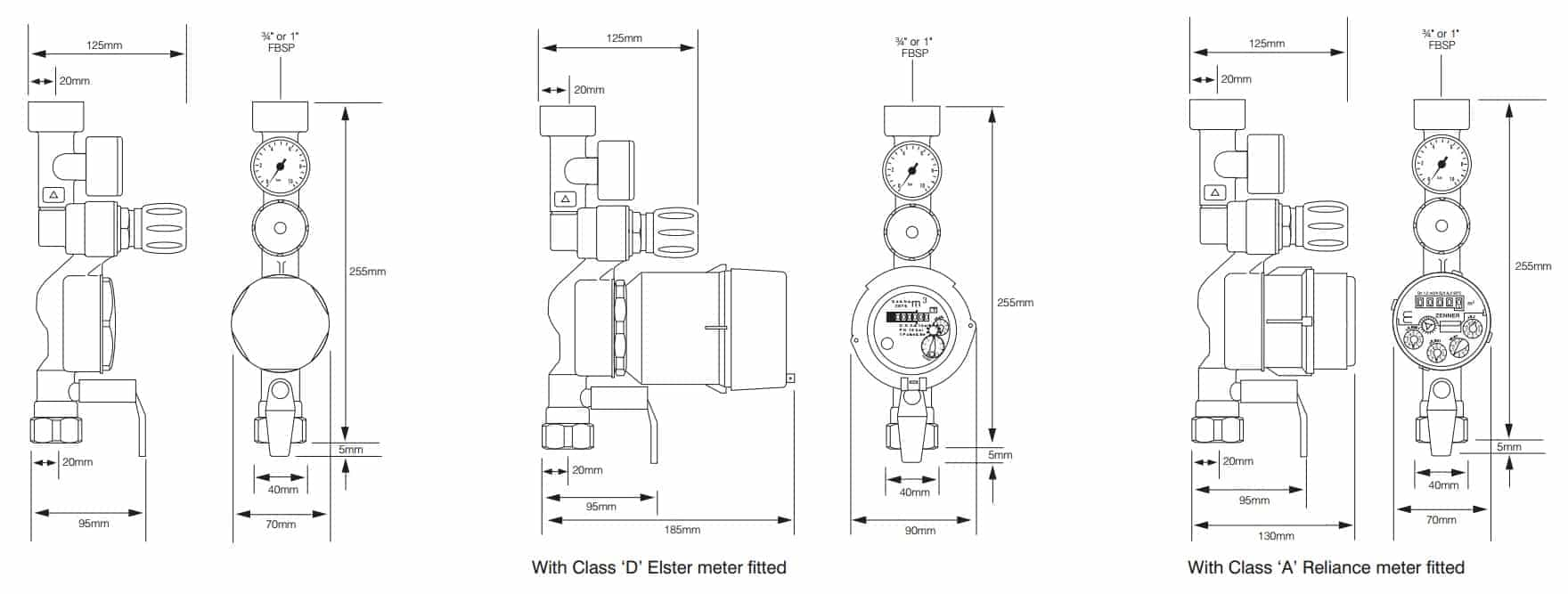 Reliance Water Controls Tenant Valves - Product Dimensions