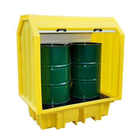 An export consignment that was not released has been returned, these units are new and unused but have some slight transport scuffs to edges and are therefore being offered at discount. Manufactured from medium density polyethylene, this spill pallet has a hard cover and roller shutter door fitted with a central lock and two handles for easy opening and closing. The sump fully complies with all the UK regulations relating to sump capacities and comes complete with an injection moulded removable plastic mesh deck. Delivered fully assembled ready for use. Reduced Spill Containment Pallet with Hard Cover - PP2HCY-D.