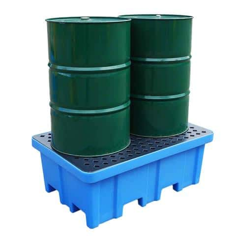 Plastic Drum Spill Pallet - 2 Drums 4-Way Forklift Entry