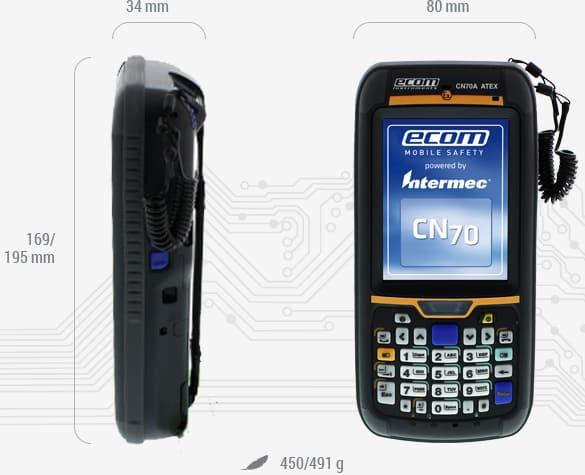 Ecom CN70X ATEX PDA - Dimensions