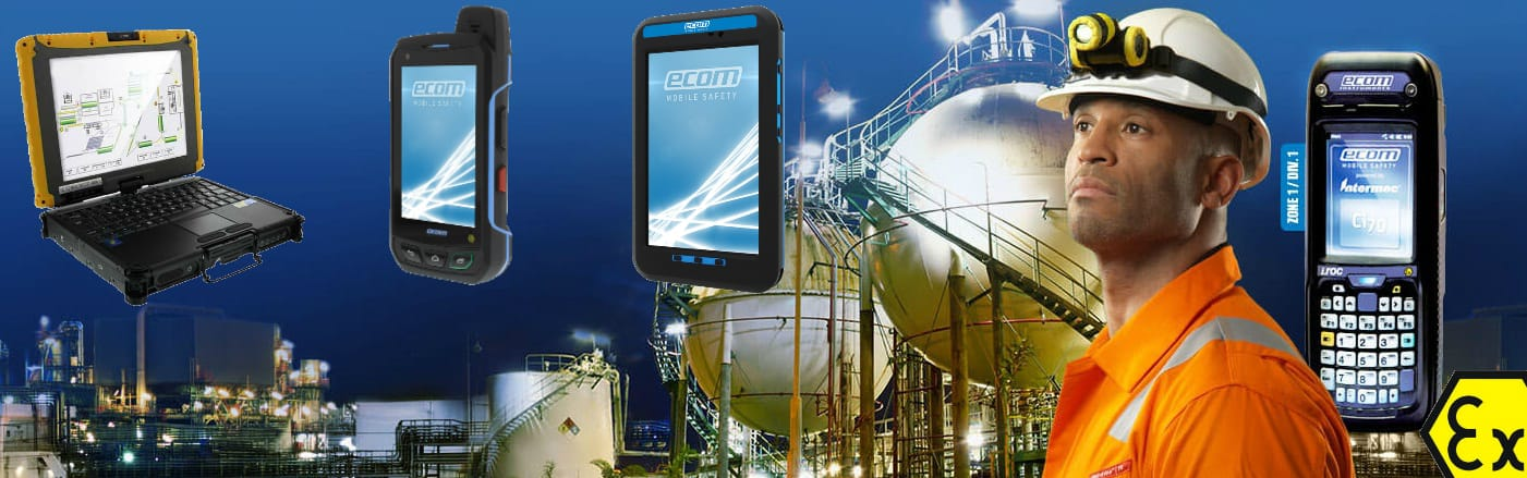 Ecom Hazardous Area Mobile Phones, Smartphones, Computers, Laptops & Tablets - ATEX Certified For Use In Zone 1 & Zone 2 Areas