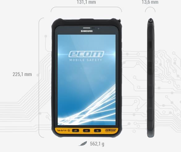 Ecom TAB-Ex 01 Android Tablet Dimensions.