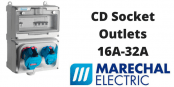 Marechal CD Socket Outlets 16A-32A IP66 IP69K RCD Protected