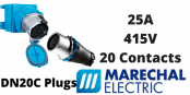 Marechal DN20C Plugs – 20 Contacts 25A 415V IP54/55 Multi-Contact Connectors