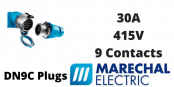 Marechal DN9C Plugs – 9 Contacts 30A 415V IP54/55 Multi-Contact Connectors