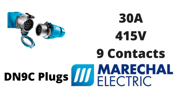 Marechal DN9C Plugs – 9 Contacts 30A 415V IP54/55 Multi-Contact Connectors