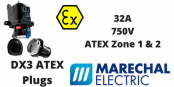 Marechal DX3 Zone 1 & Zone 2 Hazardous Area Plugs 32A 750V