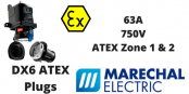 Marechal DX6 Zone 1 & Zone 2 Hazardous Area Plugs 63A 750V