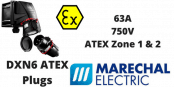 Marechal DXN6 ATEX Plugs Zone 1 & Zone 2 Hazardous Area 63A 750V