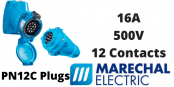 Marechal PN12C Plugs – 12 Contacts 16A 500V IP66/67 Multi-Contact Connectors