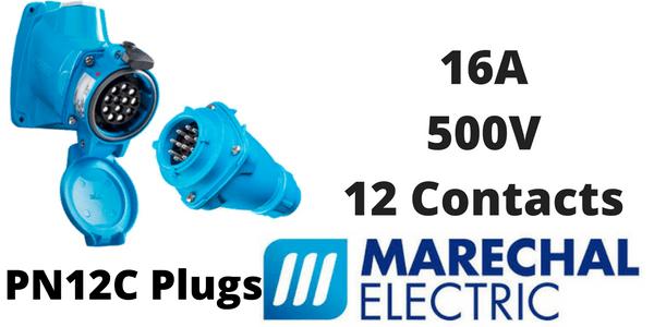 Marechal PN12C Plugs – 12 Contacts 16A 500V IP66/67 Multi-Contact Connectors