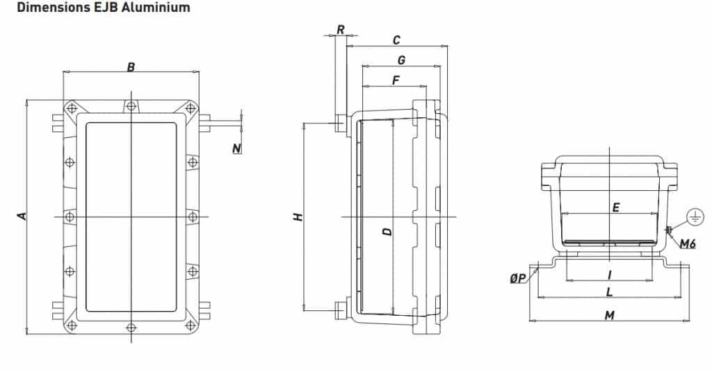 Explosion Proof Hazardous Area Technor EJB Aluminium Enclosure - Dimensions