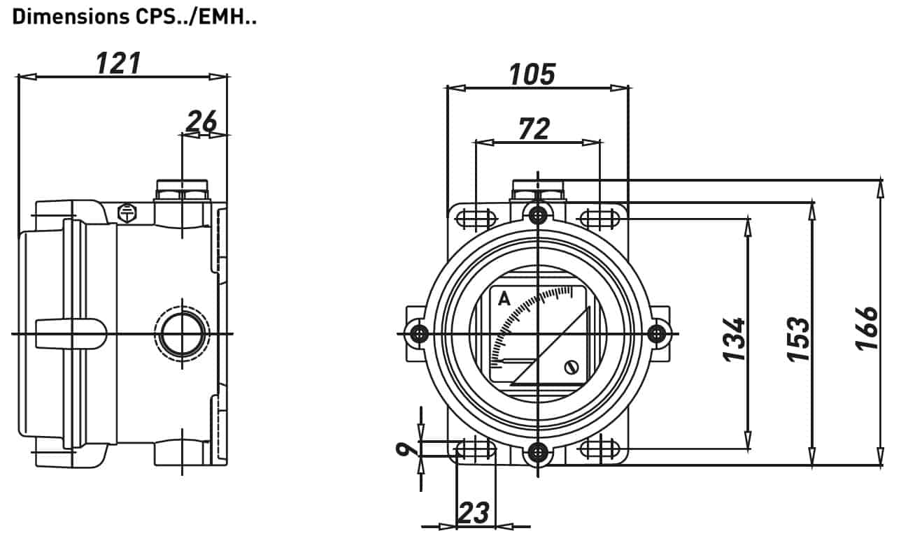 Explosion Proof Hazardous Area Technor CPS/EMH Aluminium Enclosure - Dimensions