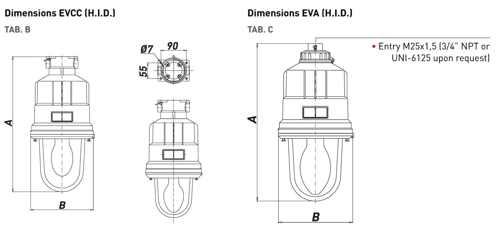 Explosion Proof Hazardous Area Technor EV HID Wellglass Lighting - EVCC & EVA Dimensions