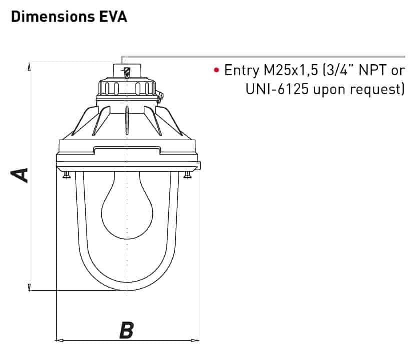 Explosion Proof Hazardous Area Technor EV Wellglass Lighting - EVA Dimensions