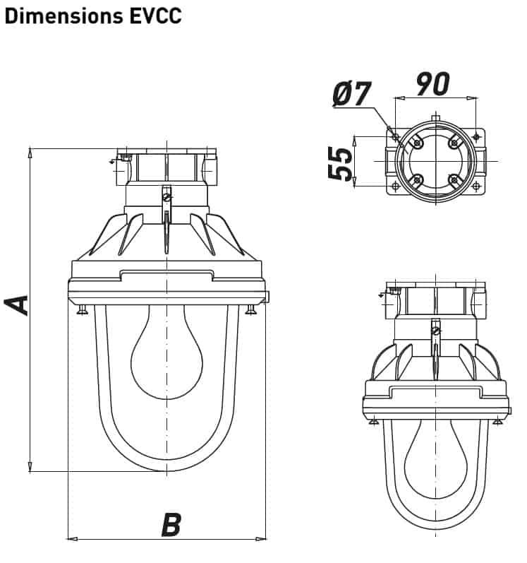 Explosion Proof Hazardous Area Technor EV Wellglass Lighting - EVCC Dimensions