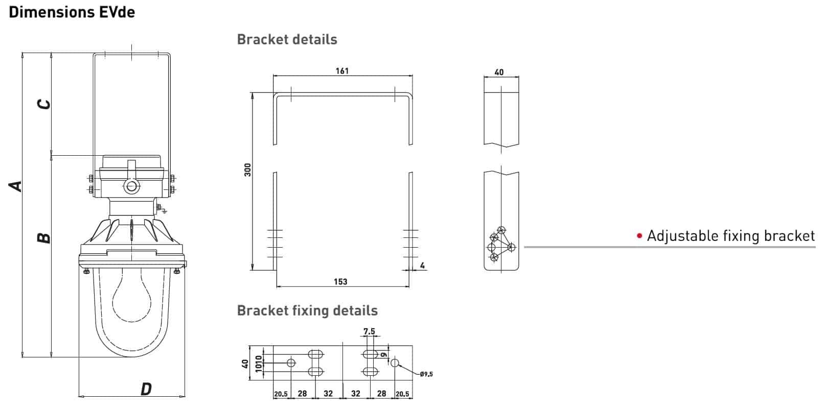 Explosion Proof Hazardous Area Technor EV Wellglass Lighting - EVde Dimensions