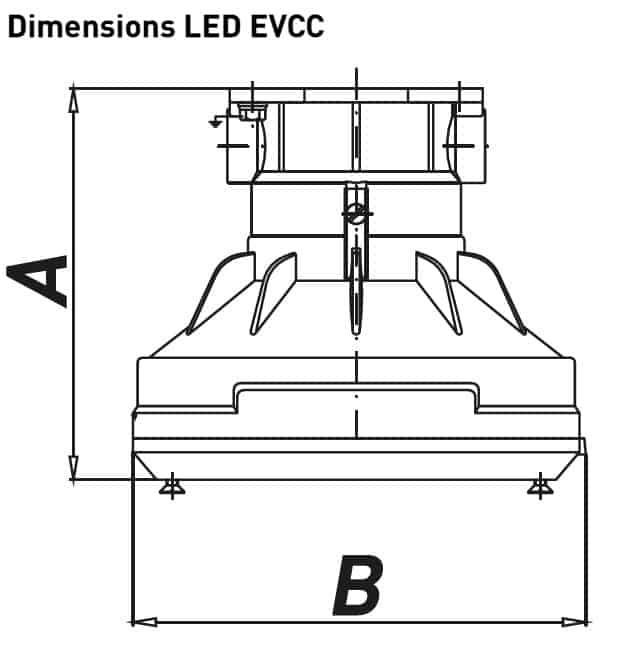 Explosion Proof Hazardous Area Technor LED EVCC-PR Wellglass Lighting - Dimensions