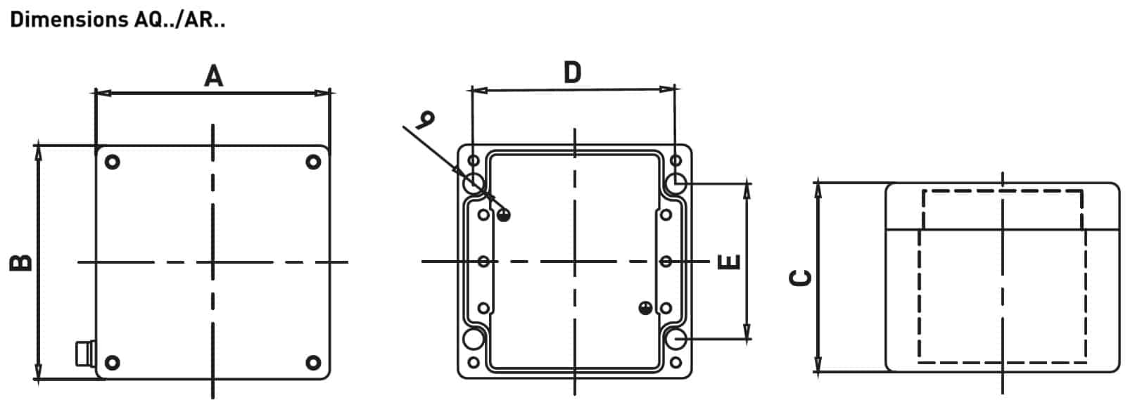 Increased Safety Hazardous Area Technor AQ-AR ALU Low Thickness Junction Boxes - Dimensions