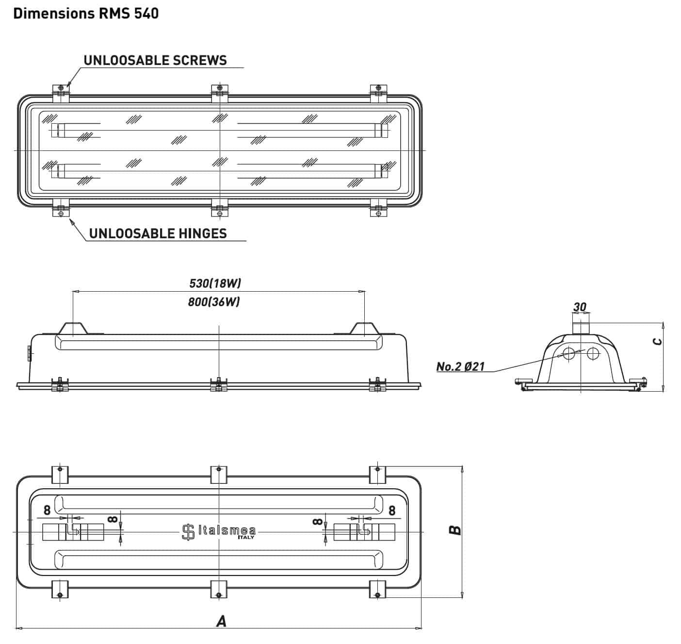 Technor RMS 540 Fluorescent Lighting - Dimensions