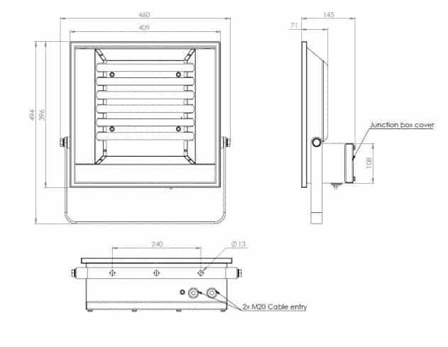 Zone 2 LED Floodlight Abtech Gamma LG Flood/Lowbay - Dimensions