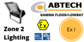 Zone 2 LED Floodlight Hazardous Area ATEX IECEx Ex i  – Abtech Gamma Flood/Lowbay
