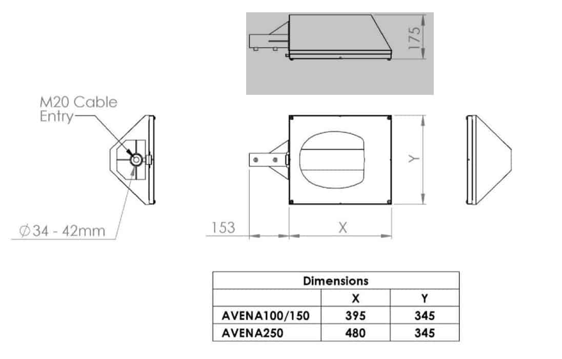 Zone 2 Street Light Abtech Avena - Dimensions