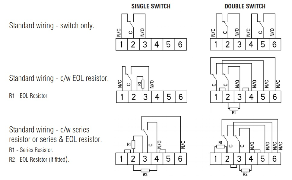 Eaton MEDC PH1 - Standard Wiring Variations For Single & Double Switches