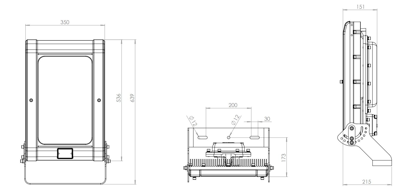 Zone 2 Floodlights - Product Dimensions