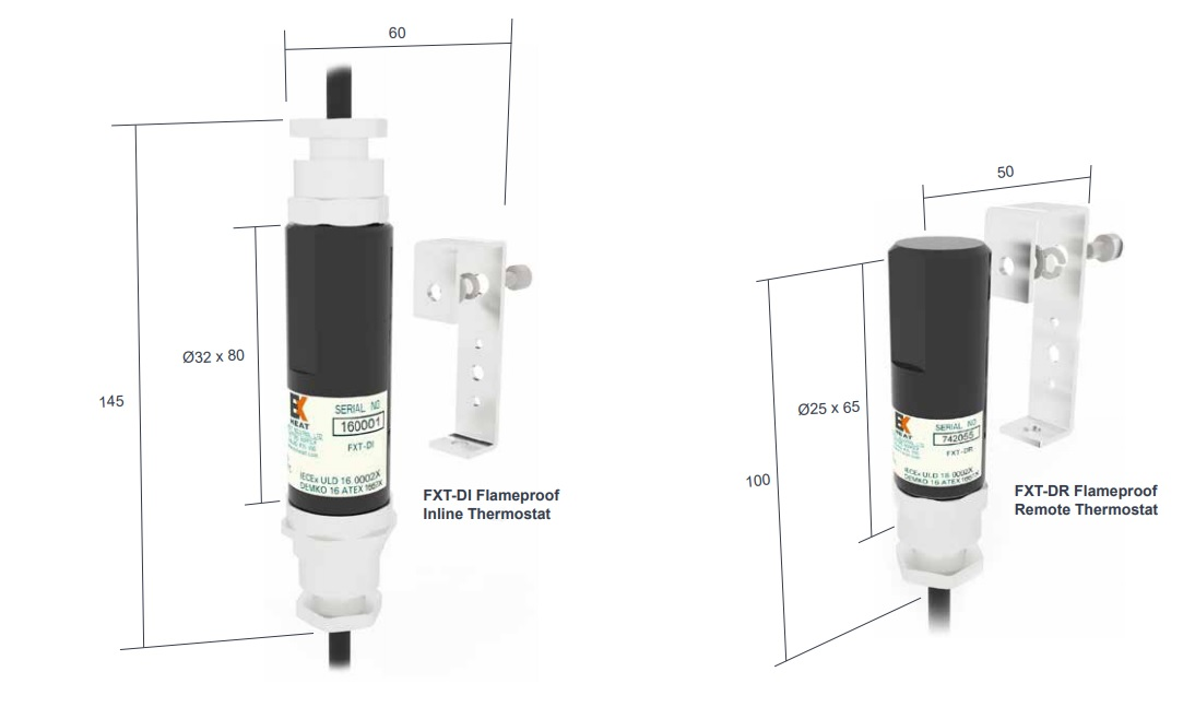 EXT-DI Flameproof Inline Thermostat & FXT-DR Flameproof Remote Thermostat - Dimensions