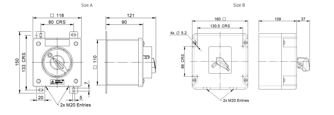 Fire Resistant Isolators | F300 Dimensions