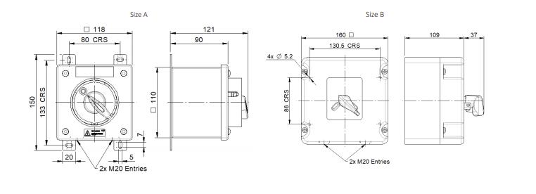 Fire Resistant Isolators | F400 Dimensions