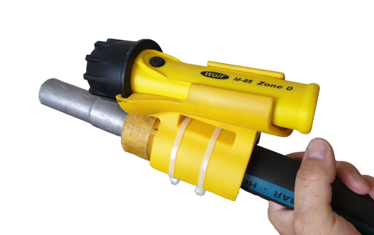 Blastlite is positioned on the nozzle or hose and points directly at the surface being targeted