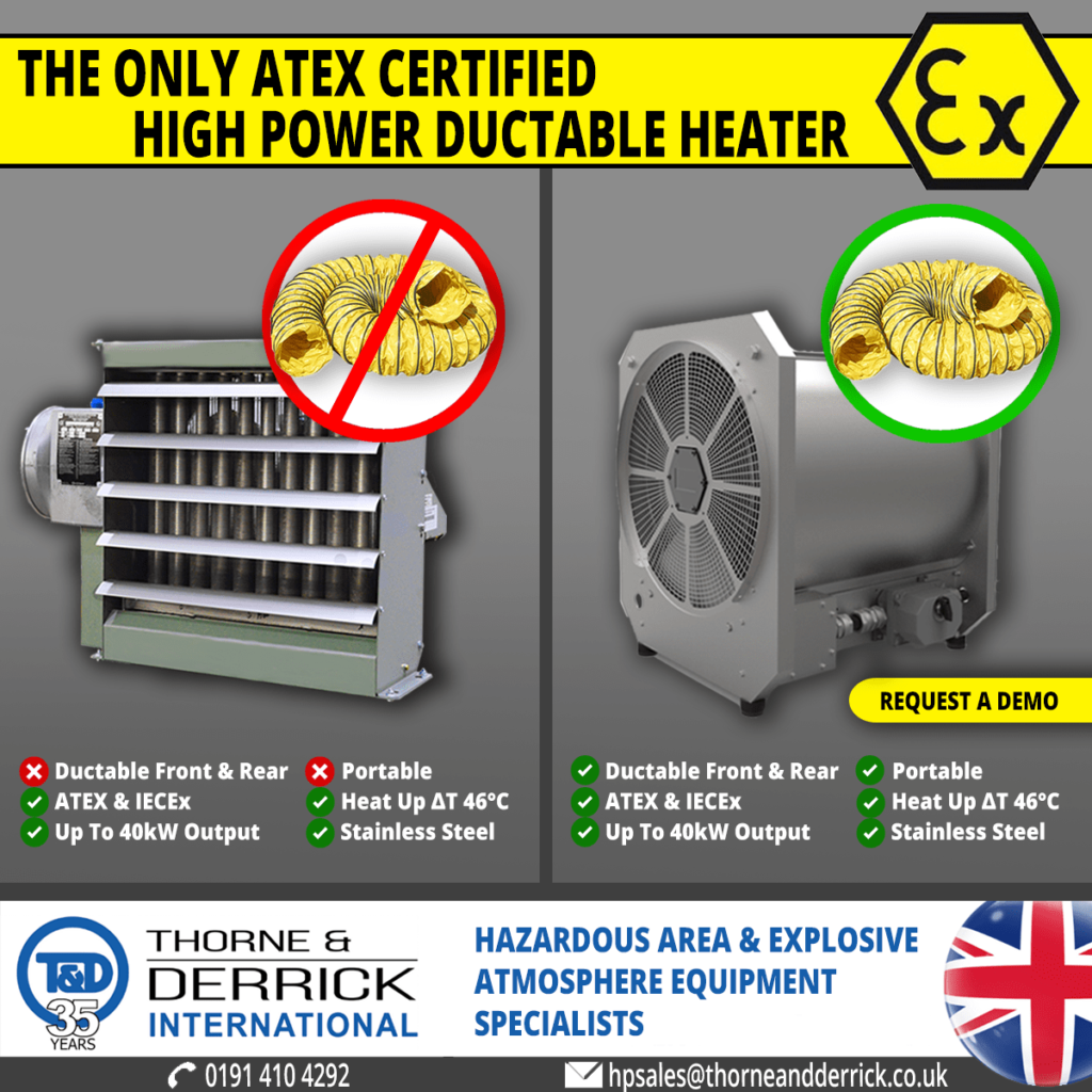 EXHEAT LFH Portable Electric Heater for Hazardous Areas with ATEX Certification
