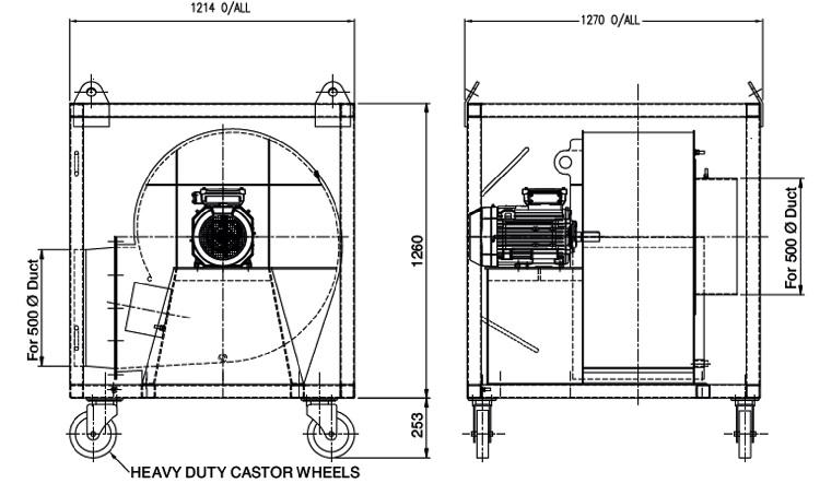 Tank Vent Fan 575 - Dimensions